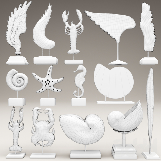 collection of 14 statues