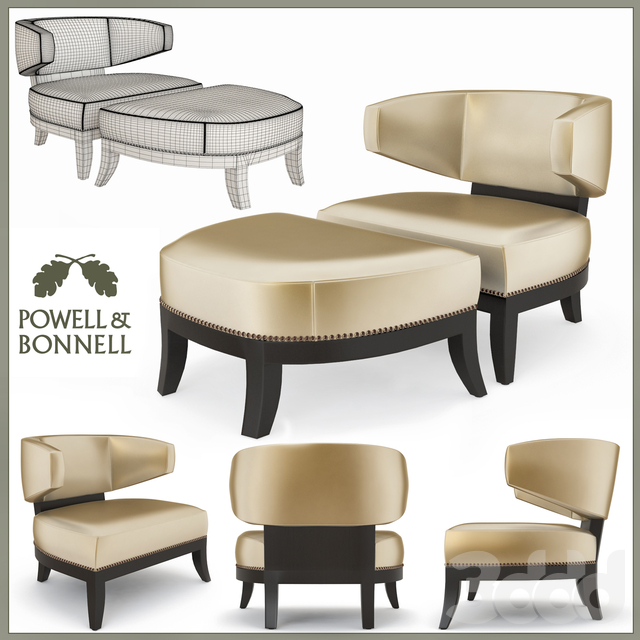 Powell and Bonnell Mulholland Chair and Ottoman
