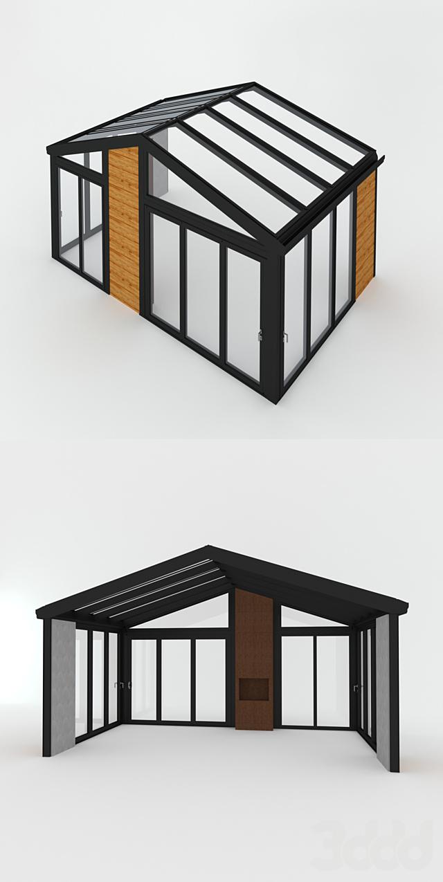 Зимний сад (№ 3.1) CMC 50 MODUS. Двускатный с камином (модификация)