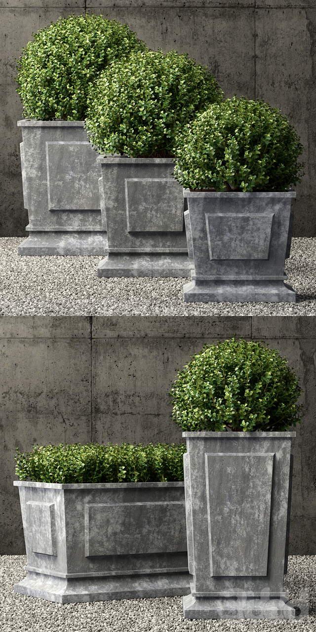 Restoration Hardware estate zinc paneled planters