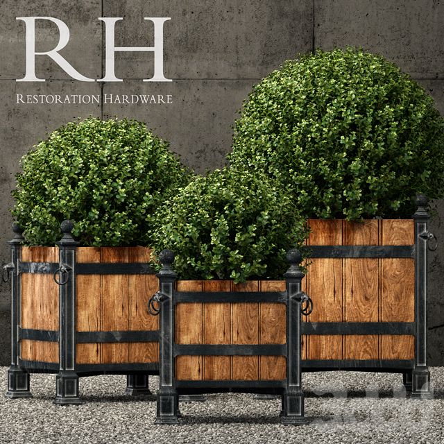 Restoration Hardware versailles wood panel planters