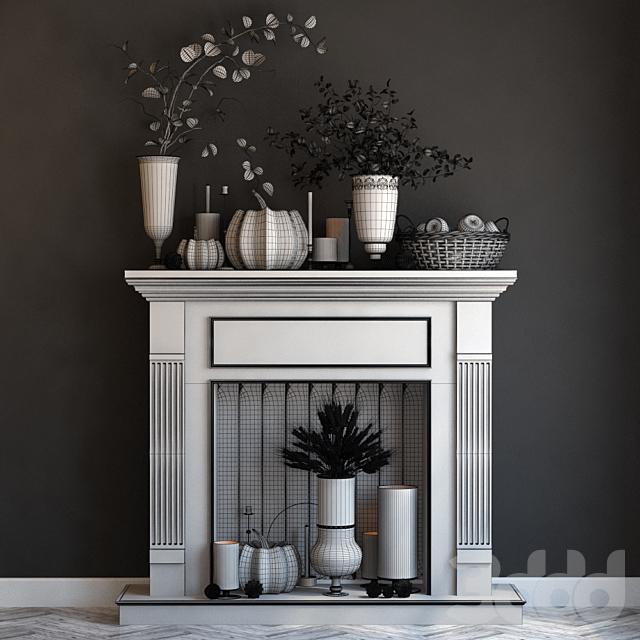 Искусственный камин со свечами и осенним декором