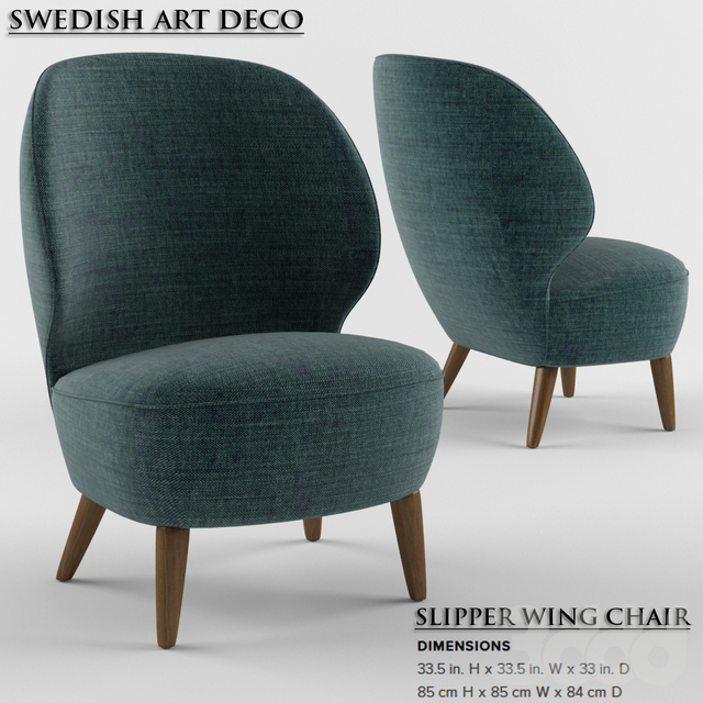 Swedish Art Deco Slipper Wing Chair-2015