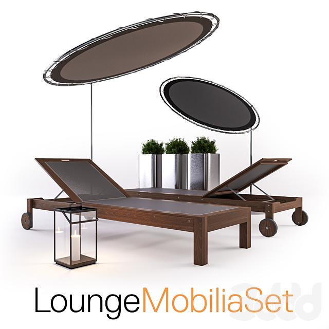 Lounge set - sunbed, umbrella, lantern