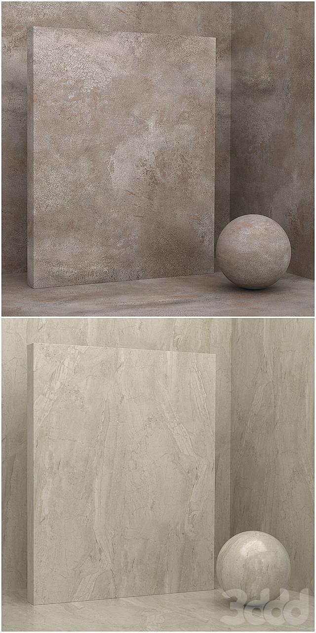 4 материала (бесшовный) - камень, штукатурка - set 13