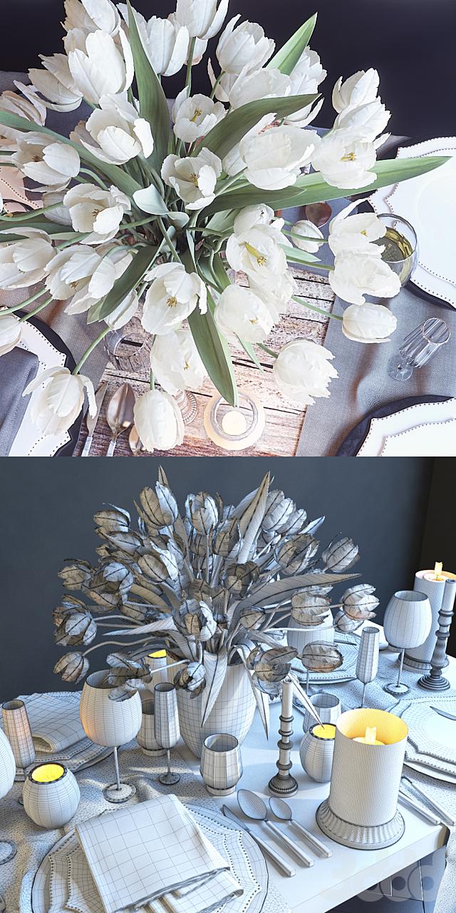 Сервировка стола 23. Сервировка с белыми тюльпанами
