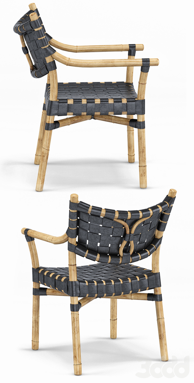 Canyon Leather And Rattan Chair