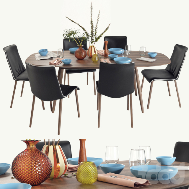 Walter Knoll Moualla Table and Liz Wood chair dining set(vray GGX)