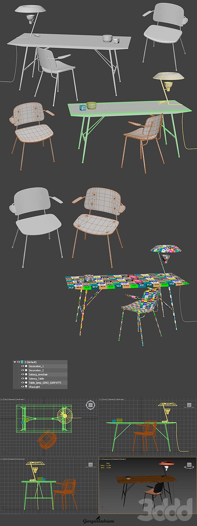 Set Soborg armchair table