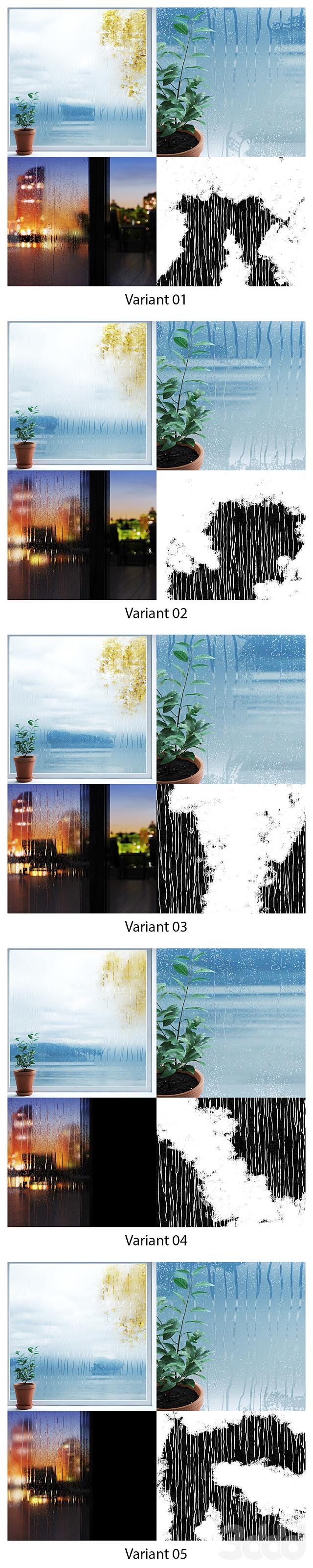 Мокрое стекло - капли во время дождя