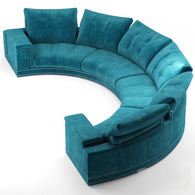Andrew round sectional velvet sofa - Fendi Casa