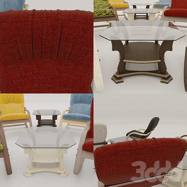 Кресло-качалка и журнальный столик