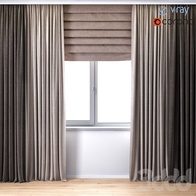 Curtains with Roman curtain (V-ray + Corona)