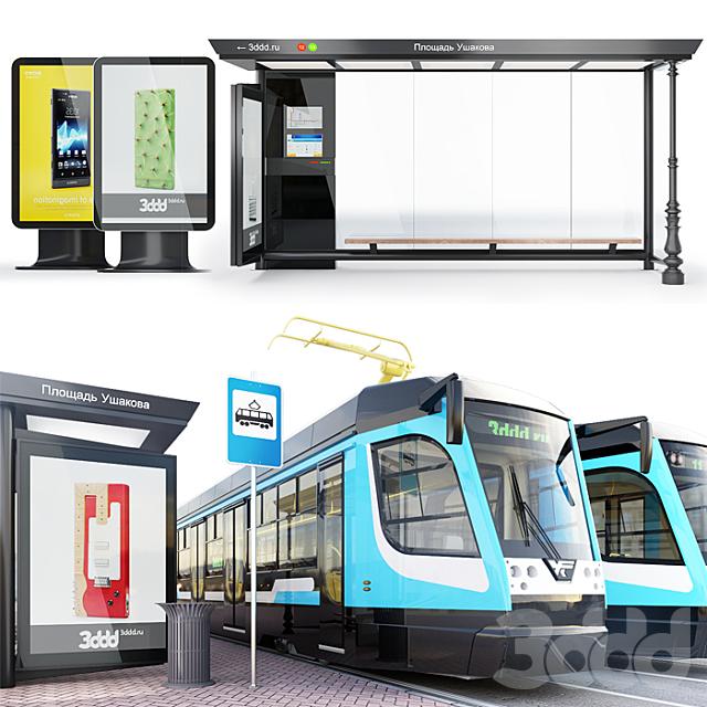 Трамвайный вагон серии -71-623 Россия \ Современная остановка + окружение.