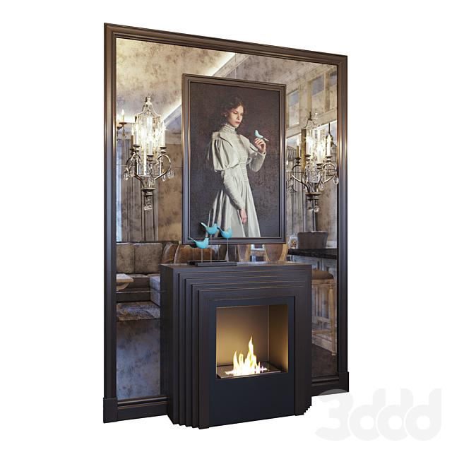 Камин, бра, картина, декор и зеркальное панно (Fireplace sconce Gianna picture and decor Blue dark YOU)