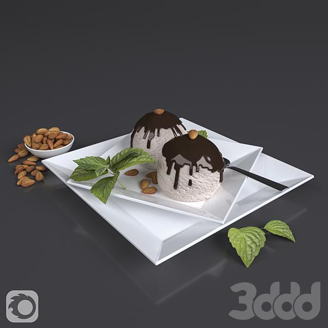 Ice cream with almond set
