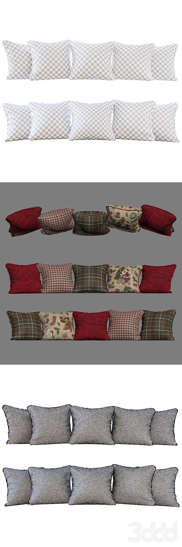 Новогодние/рождественские красные и зеленые  подушки (Pillows New Year Christmas red and green YOU)