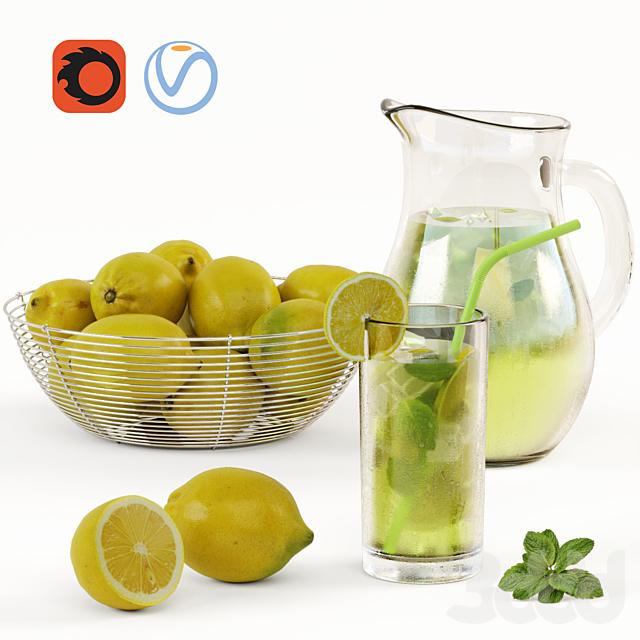 Лимонад и Миска с лимонами