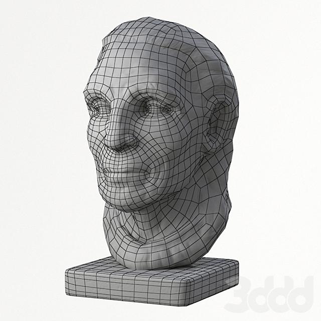 OLdMan Head Sculpture PBR lowpoly 3D Model