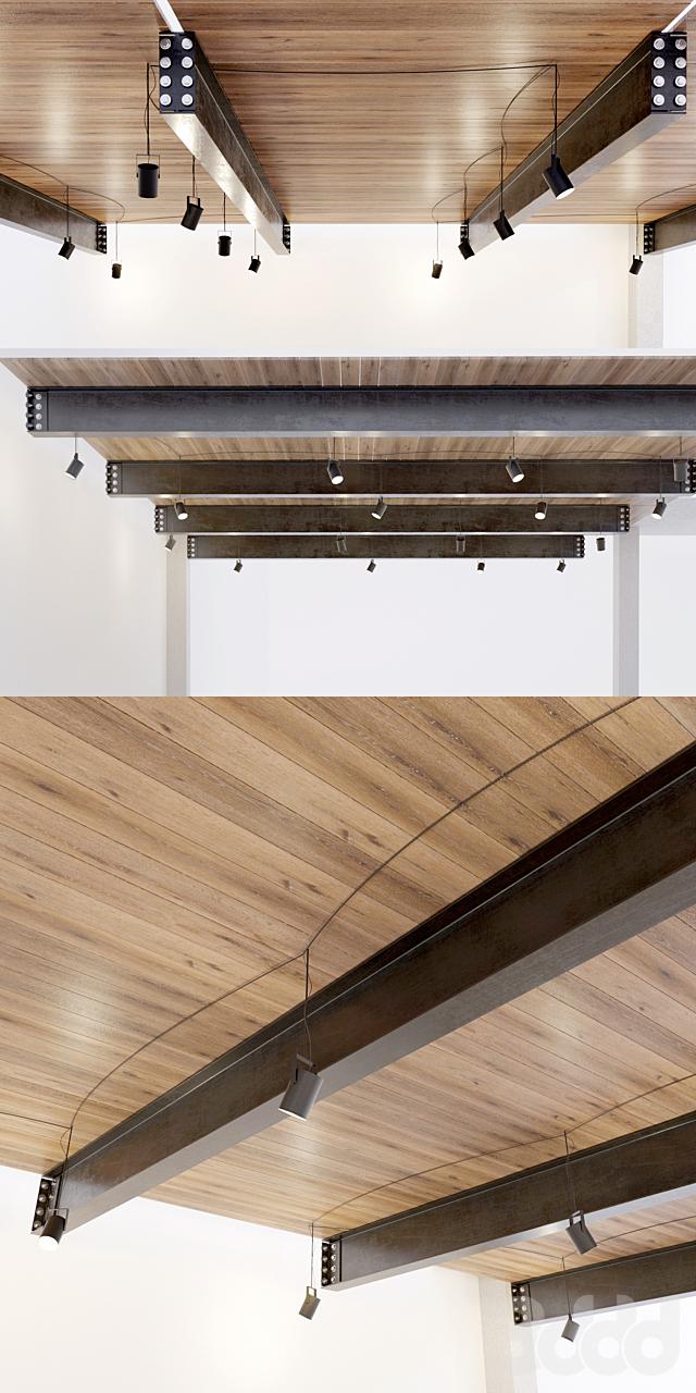 Деревянный потолок по металлическим балкам. 22