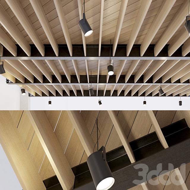 Деревянный потолок по металлическим балкам. 24