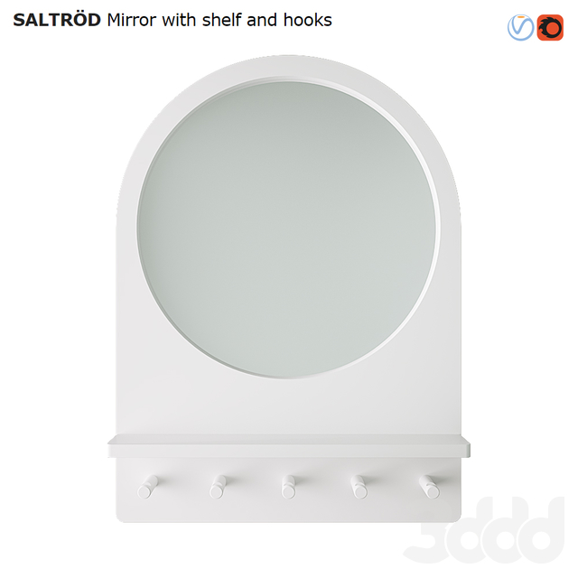 IKEA SALTROD  Mirror with shelf and hooks
