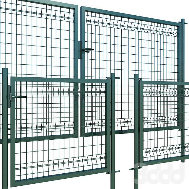 Распашные ворота, калитка