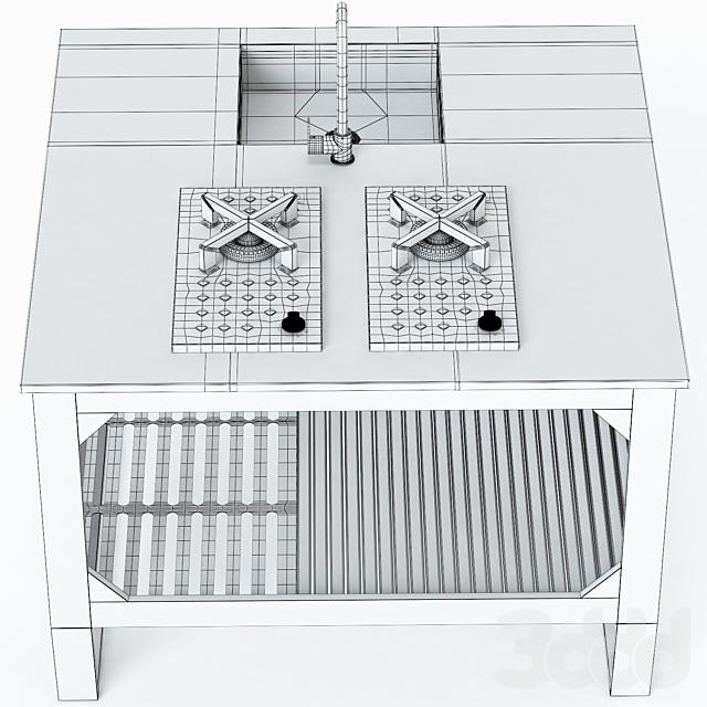 Наружная кухня из стали и дерева Lgtek WINDOW C3 130x130x91