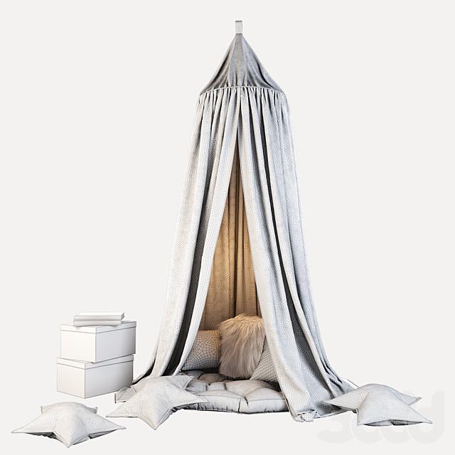Детский балдахин - шатер и декор в розово-золотистых тонах