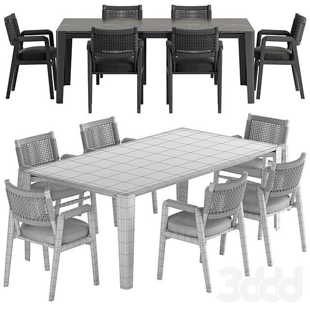 Flexform Ortigia chair Iseo table set