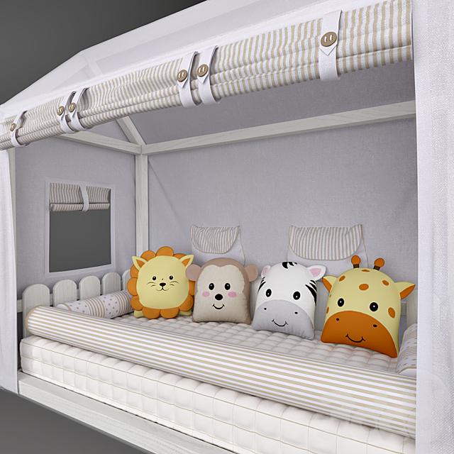 Кровать – домик Casinha Montessorian и балдахин в кроватку  Friends Safari Beige