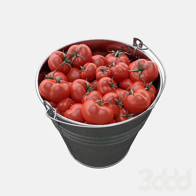 Ведро с помидорами