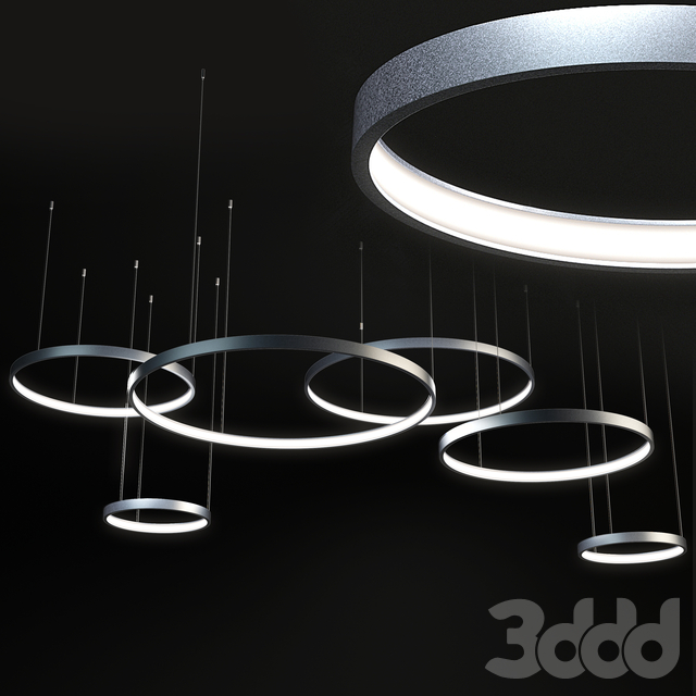 композиция из светильников в форме колец LUCHERA