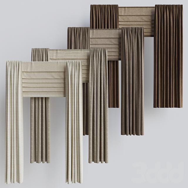 Набор портьер + набор римских штор 2. Бежевая гамма