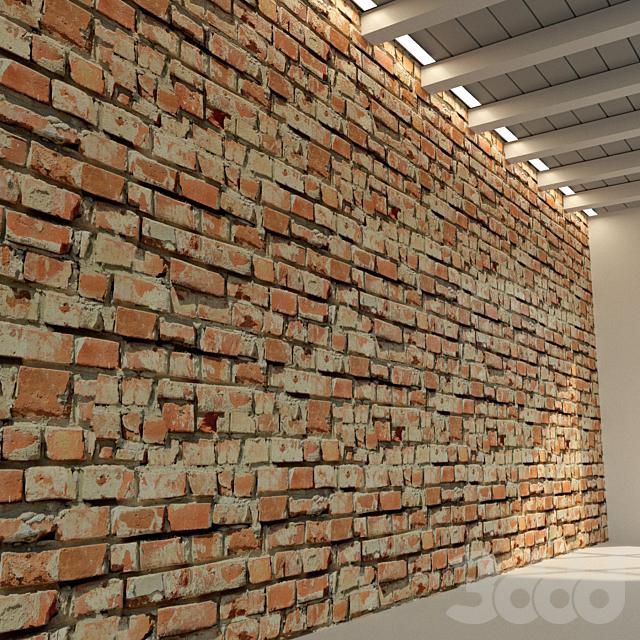 Кирпичная стена. Старый кирпич. 71