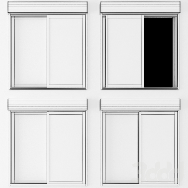 Раздвижные витражные окна с рольставни