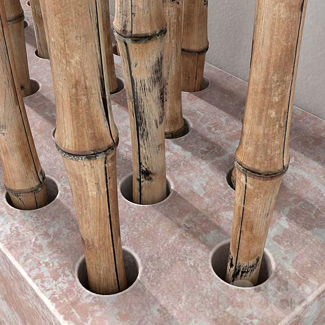 Ветки бамбука на бетонном основании / Branch decor fundament concrete