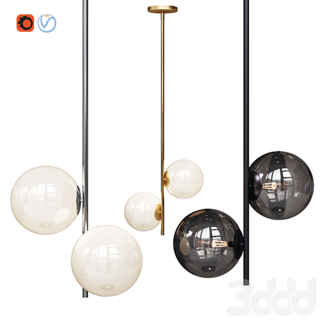West Elm Sphere and Stem collection Hang light Chandelier Chrome, Gold, Bronze