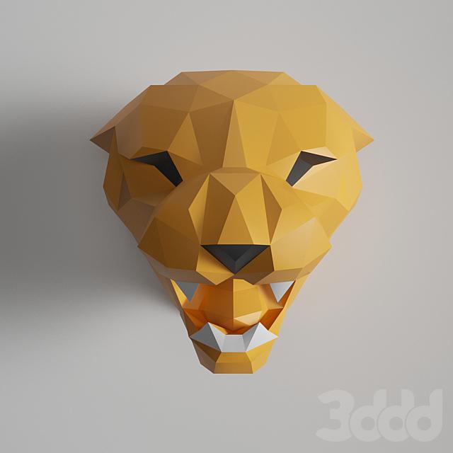 Tiger Head Polygonal paper