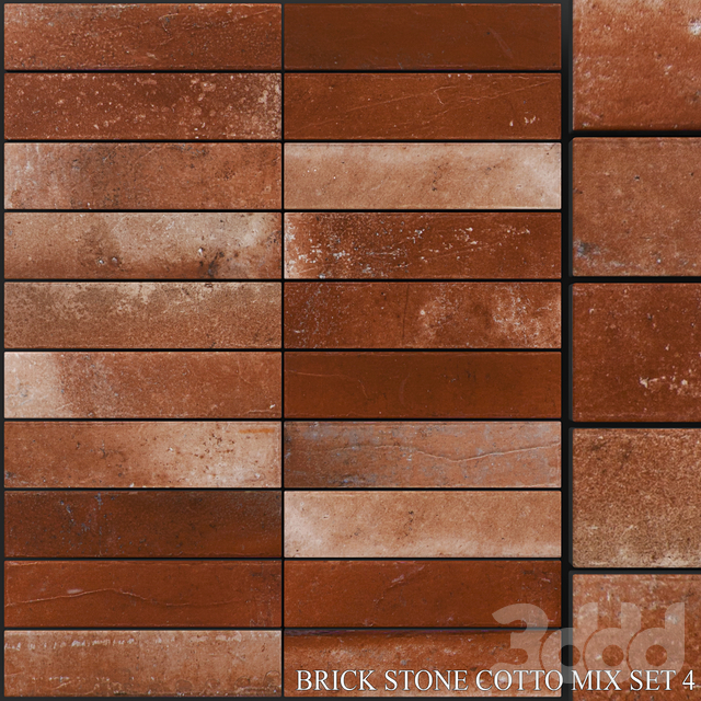 Yurtbay Seramik Brick Stone Cotto Mix Set 4
