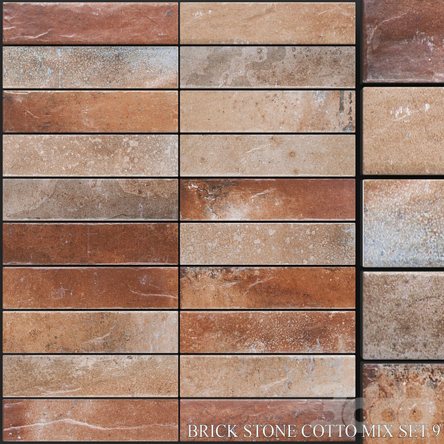 Yurtbay Seramik Brick Stone Cotto Mix Set 9