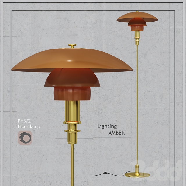 Торшер Louis Poulsen PH 3_2 Floor Lamp Gold Amber Glass
