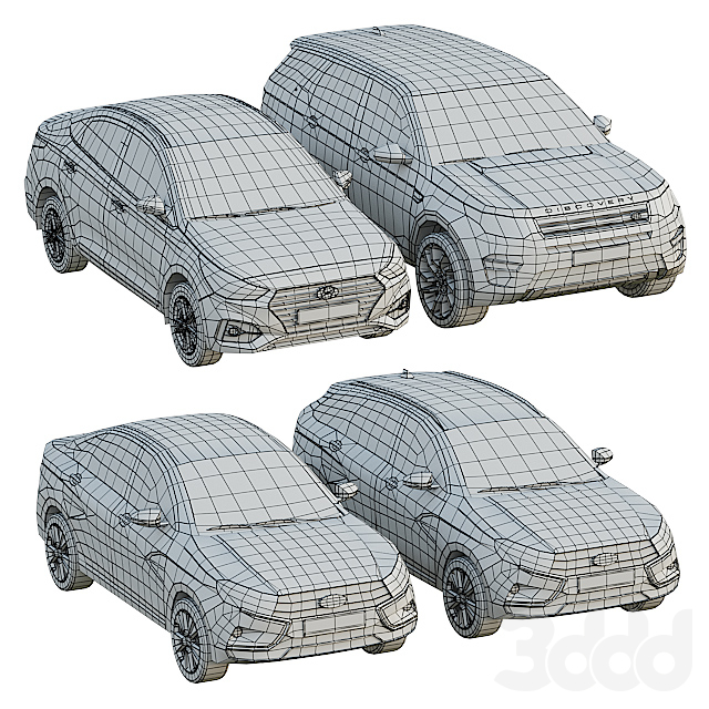 Набор низкополигональных автомобилей 1