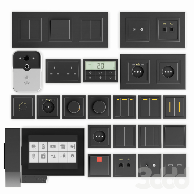 Black switches and sockets