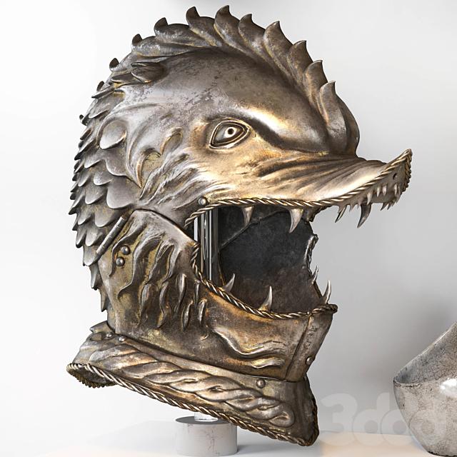 Decorative set with medieval Dragon Helmet