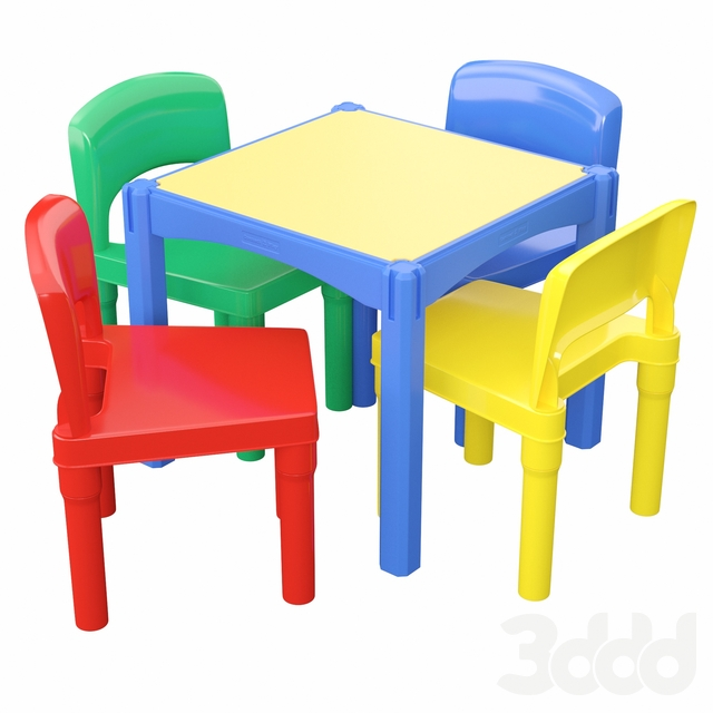 5 Piece Square LEGO Table with Chair Set