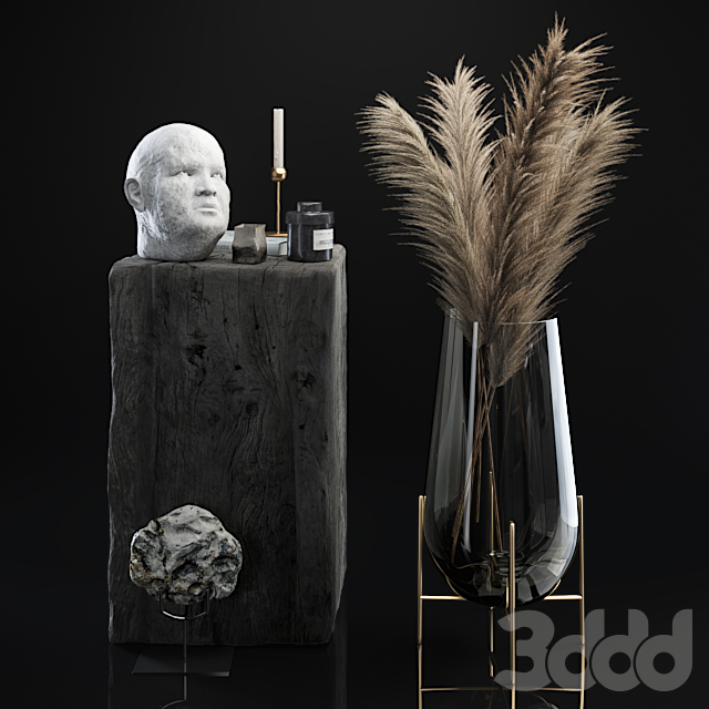 Decorative set 5 with dried plants