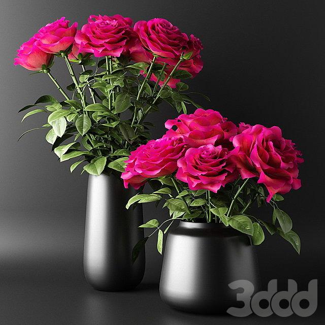 Букеты из алых роз в чёрных вазах | Bouquets of red roses in black vases