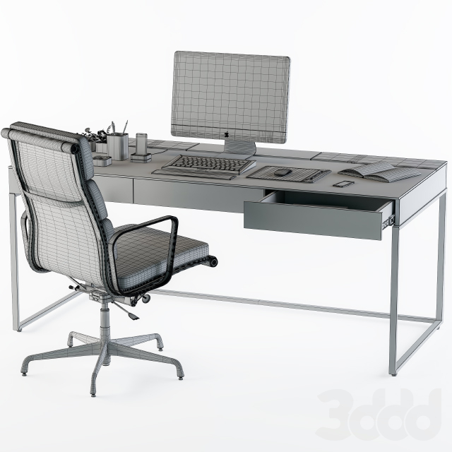 black office desk set