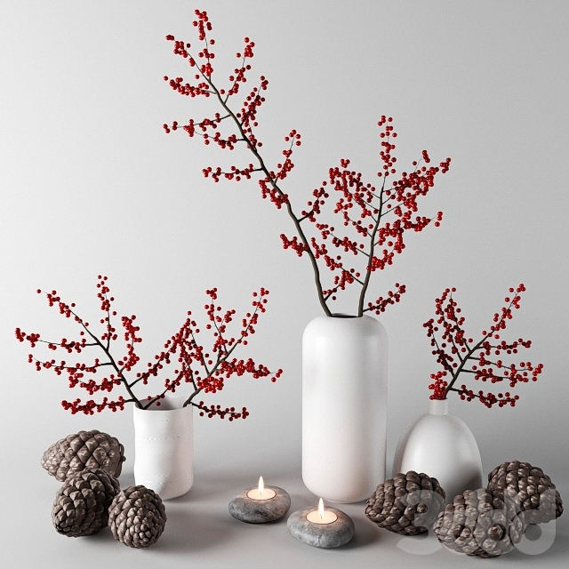 Ветки с красными ягодами в белых вазах